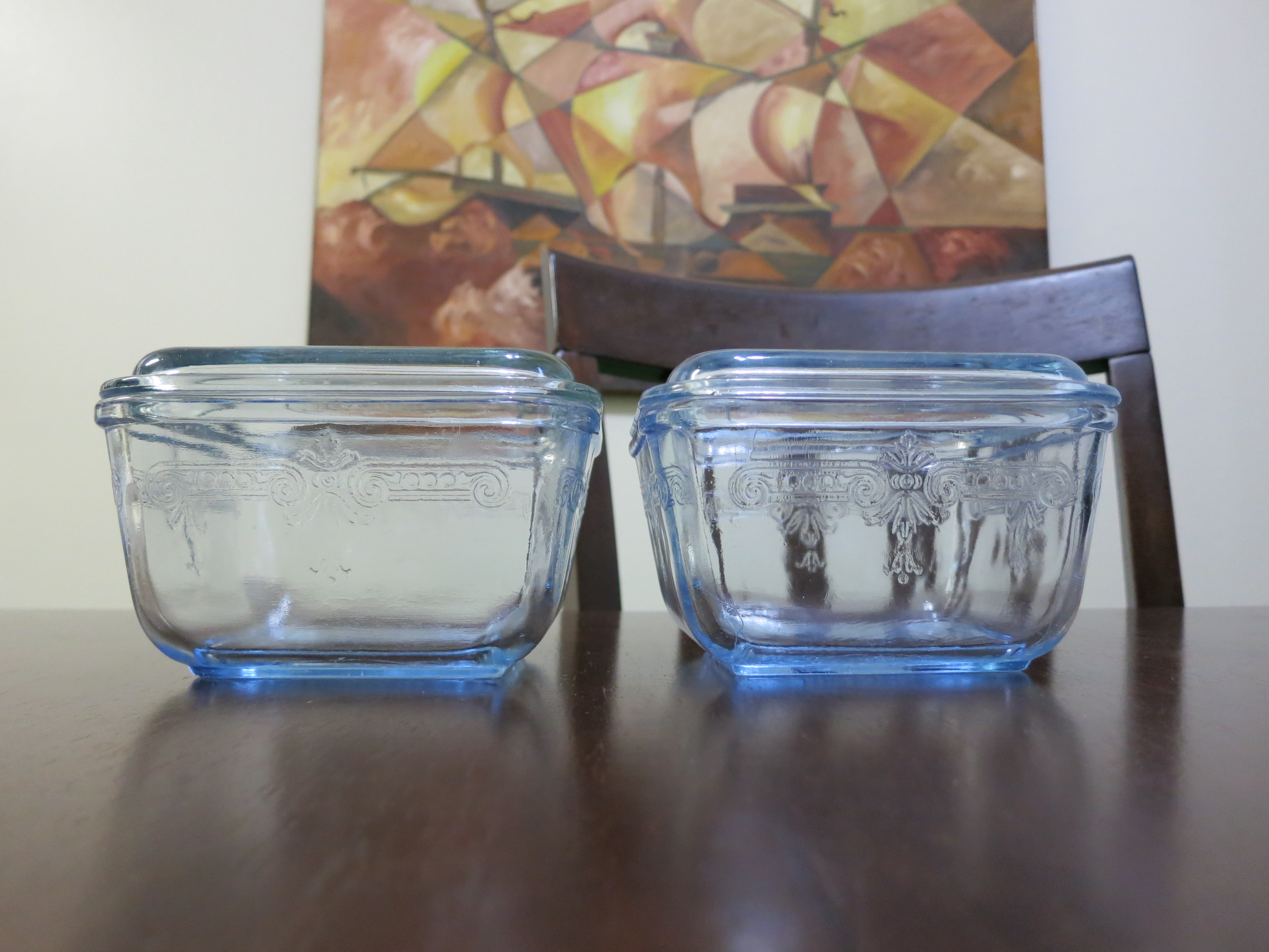 Fire King Philbe Sapphire Blue Refrigerator Containers